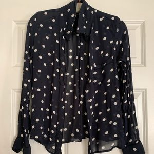 Navy polka dot blouse